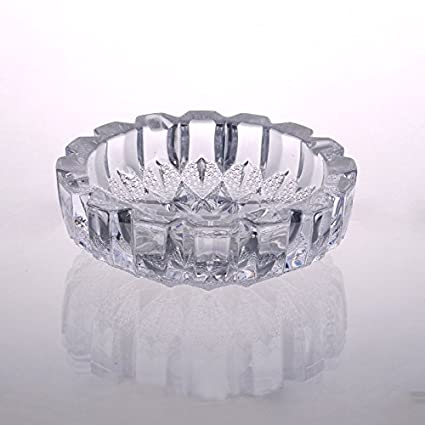 8c528a4970a Image Unavailable. Image not available for. Color  Crystal Cut Round Glass  Ashtray ...