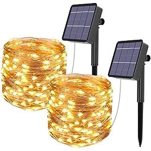 Guirnalda Luces Exterior Solar, Kolpop Cadena de Luces 26 Metros 240 LED, 8 Modos de Luz, Decoración para Navidad… 51cqtLNNl9L