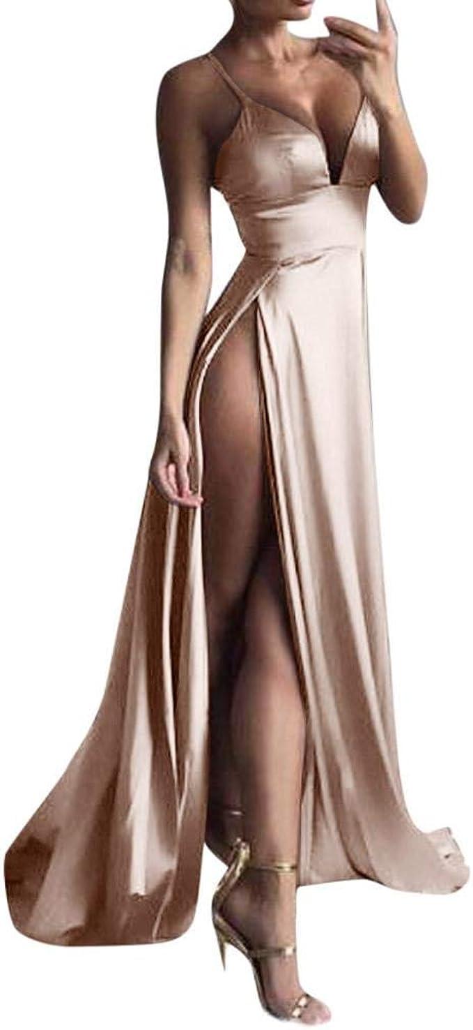 YEBIRAL Damen Tiefer V-Ausschnitt Bodenlanges Abendkleid
