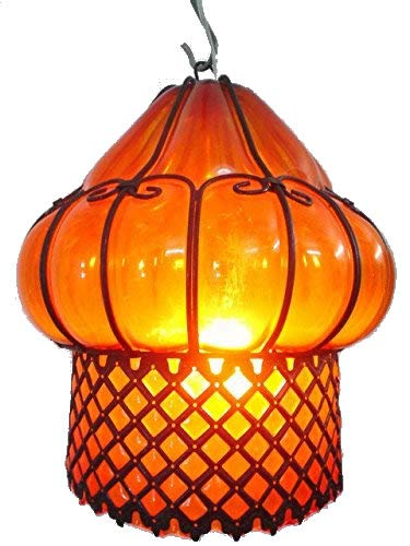 (B67-AM Mouth-Blown Glass Wrought Iron Amber Pendant Lampshade)