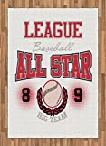 Sports Area Rug by Lunarable, College Baseball Softball Play League All Star Team Champion Tournament, Flat Woven Accent Rug for Living Room Bedroom Dining Room, 5.2 x 7.5 FT, Dark Coral Black Peach