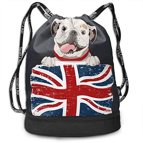Create Magic English Bulldog Drawstring Backpack Sports Athletic Gym String Bag Cinch Sack Gymsack Sackpack With Water Bottle Mesh Pockets