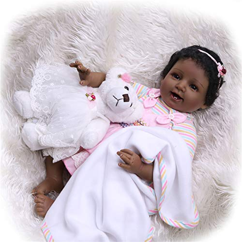 TERABITHIA 22inch 55cm Real Life Smiling African-American Newborn Baby Doll Black Stuffed Cloth Body Bears Reborn Girl Dolls for Collection Look Real from TERABITHIA