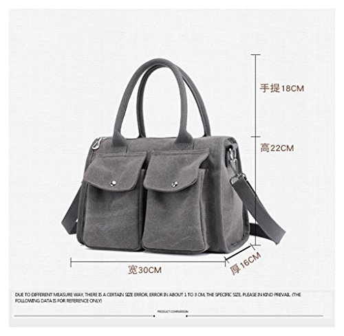 Simple Ladies Bag Handbag Wild Messenger Canvas Grey Casual Shoulder Borsa Simple Bag Viaggio FLHT Handbag Da Simple Multifunzionale F7wX47xq