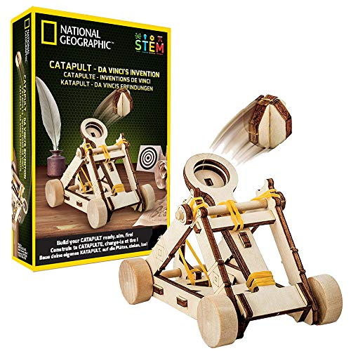 (NATIONAL GEOGRAPHIC Da Vinci's DIY Science & Engineering Construction Kit- Build Your Own Wooden Model of The Original Catapult)