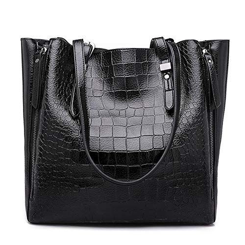 Handbag Pattern Crocodile Tote (Mn&Sue Women Shoulder Tote Bags Vintage Crocodile Pattern Handbags Top Handle Leather Purse Large Satchel (Black))