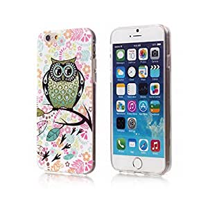 iPhone 6 Case, Fine Fair Carton Owl Design Transparent Frame Phone Case Cover with Shimmering Powder for iPhone 6 4.7 inch Style M