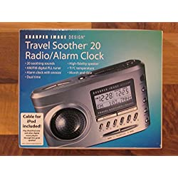 Sharper Image Travel Soother 20 Radio Ipod Clock Si721 White Input for Ipod Mp3
