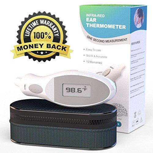 ЛУЧШИЙ наиболее точные - * 5 * Star термометр уха, цифровой для ребенка, для детей и взрослых. Педиатр Approved - использует безопасные HARMLESS инфракрасный лазер - 100% пожизненная гарантия! - Отлично подходит для всей семьи - не принимает Температура в