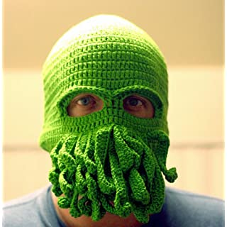 Handmade Cthulhu Ski Mask made with 20% egg protein yarn - fits Teen or Adult female