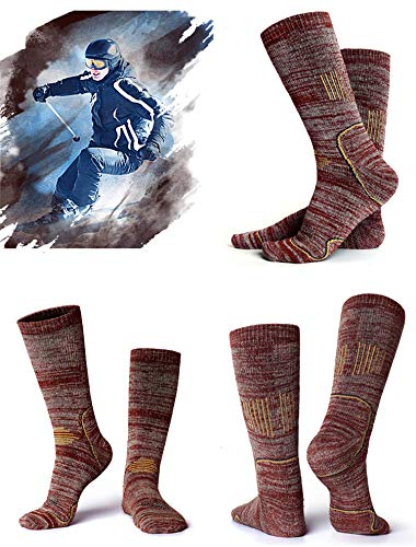 3 Pairs Hiking Cotton Socks for Mens Womens-Multi Performance Outdoor Sports Wicking Cushion Crew Socks