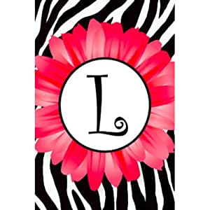 "Pink Daisy, Zebra Stripe Monogram L Appliqued Double-Sided Garden Flag 12""x18"""