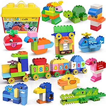 burgkidz Big Building Blocks - 270 Pieces Kids Educational Toy - 21 Fun Shapes, 13 Classic Color and Storage Bucket - Classic STEM Toy Building Bricks Set for All Ages (270 Pieces)