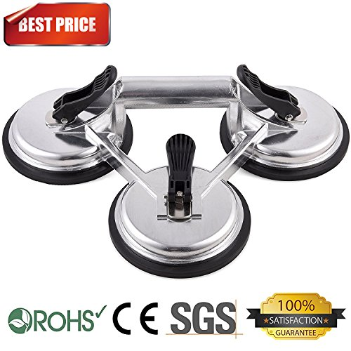 Heavy Duty Triple Locking Suction Cup Pad, Aluminum 3 Plates Hand Vacuum Lifter for Tiles&Glass&Granite, Level Action Type