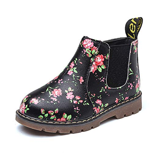 Endand Kids Ankle Boots Girls Boys Floral Flower Print Chelsea Boots Girls Autumn Martin Boots Winter Shoes Black Floral 3 ()