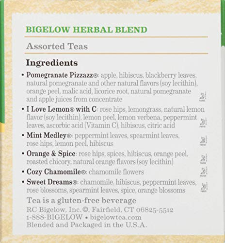 Bigelow 6 Assorted Herbal Tea, Caffeine-Free Individual Herbal Tisane Bags, for Hot Tea or Iced Tea, 18 Count, Pack of 6, Set of 2