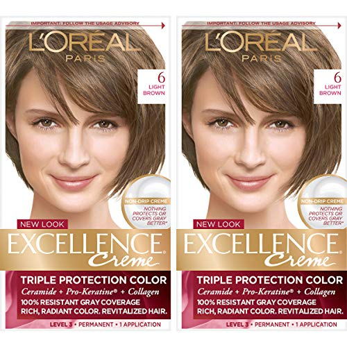 L'Oréal Paris Excellence Créme Permanent Hair Color, 6 Light Brown, 2 COUNT 100% Gray Coverage Hair Dye