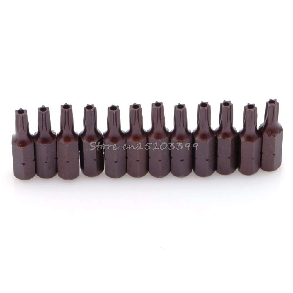 """12Pcs T20 1//4/"""" Hex Shank Magnetic Torx Security Screwdriver Bits With Hole 25mm"""
