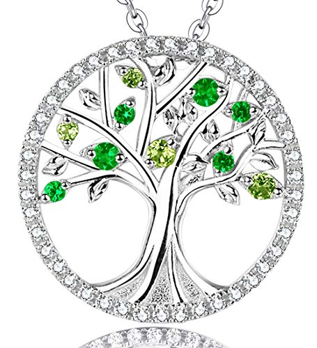 Emerald Cut Peridot Stone - The Tree of Life Necklace Gifts for Her Natural Green Peridot Gemstone and Created Emerald Halo Pendant Birthday Anniversary Gift for Family Women and Lady Sterling Silver