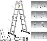 Tri Fold Vanity Mirror with Lights Quality Ladder - 12.5FT Scaffold Aluminium Folding Ladder - Multi Purpose Extendable Heavy Duty Step Ladder - Rustproof alloy - Light Weight - Multi Position For Smooth Operating
