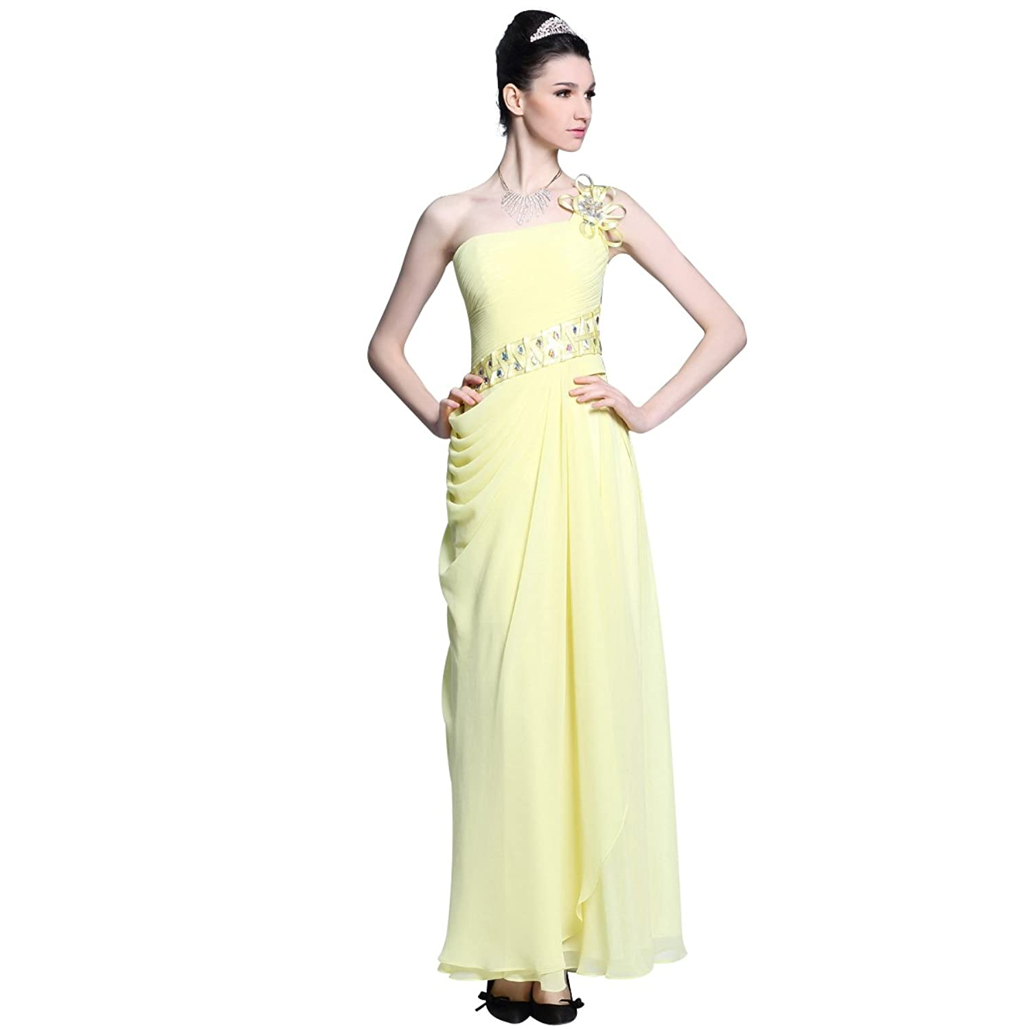 Zhiyuan One Shoulder Ankle Length Beaded Prom Dress