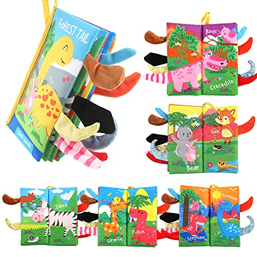 Byson Soft Baby Cloth Books, Touch and Feel Crinkle Tail Toys Baby Soft Books Early Educational Cloth Books, Infants & Toddler Soft Cloth Books Baby Girls & Boys Shower Toys (Jungle Tail - 1 Book)