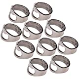 Pixnor Bottle Opener Ring Lightweight Stainless Steel Pack of 10