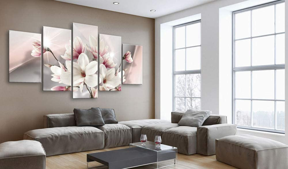 Yj Art Pink Floral Wall Art Giclee 5 Pieces Canvas Print Picture Decoration Home Living Room Decor Flower Overall Size 80 W X 40 H Posters Prints