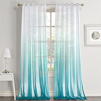 Amazon Com Dreaming Casa Gradient Ombre Sheer Curtains
