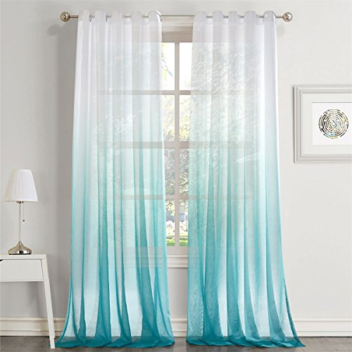 LoyoLady Gradient Ombre Lake Blue Grommet Top Sheer Curtains Draperies for Living Room Window Treatment, 52 W x 102 L - Set of 2 Panels