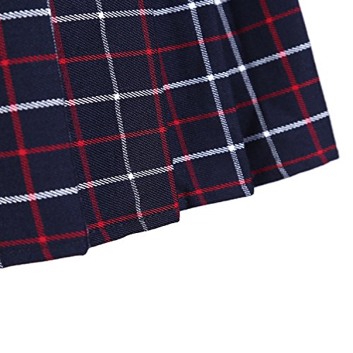 Urban GoCo Mujeres Falda Escocesa Plisada con Cintura Elástica Escuela Uniforme Falda Cuadros #7 Rojo