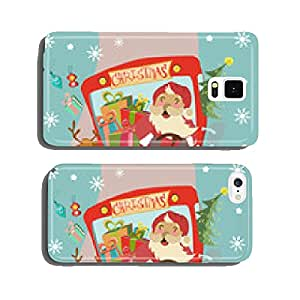 Funny Christmas background with Santa Clause and deer in bus cell phone cover case iPhone6 Plus