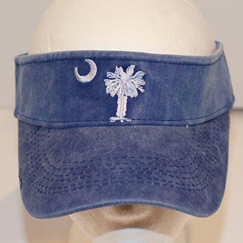 - South Carolina Palmetto Tree Denim Blue Visor Cap Hat