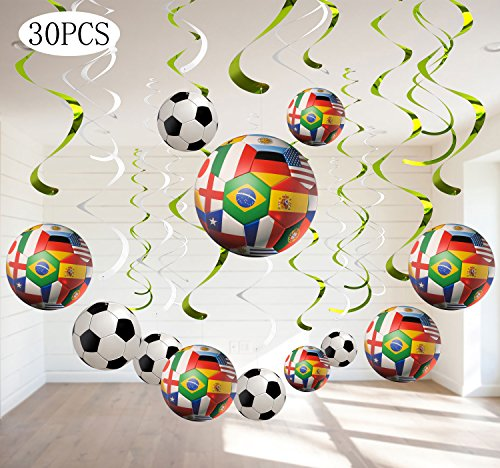 2018 World Cup Hanging Swirl Decorations - Soccer Game Birthday Party Supplies Fan Decors 30Ct