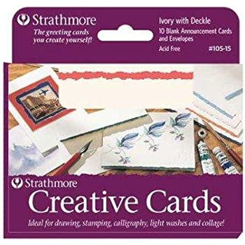 Amazon strathmore blank greeting cards with envelopes bright strathmore str 105 42 whitered deckle card 20 pack m4hsunfo