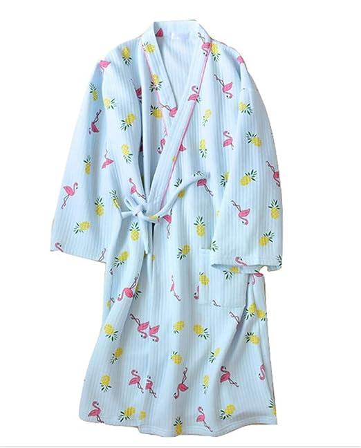 YTFOPLK Flamingo Fresco Batas De Baño Batas De Noche Mujer Tela De Buceo Japonesa Algodón Acolchado Kimono Pijamas Invierno Mantener Cálidas Batas Mujeres, ...