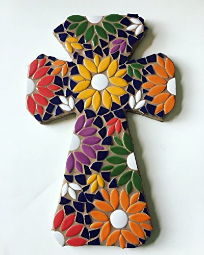 Mosaic Tile Flower Wall Cross Ceramic Tile Mosaic Decorative C.
