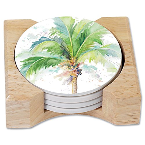 - CounterArt Palm Tree Watercolor Absorbent Coasters in Wooden Holder, Set of 4