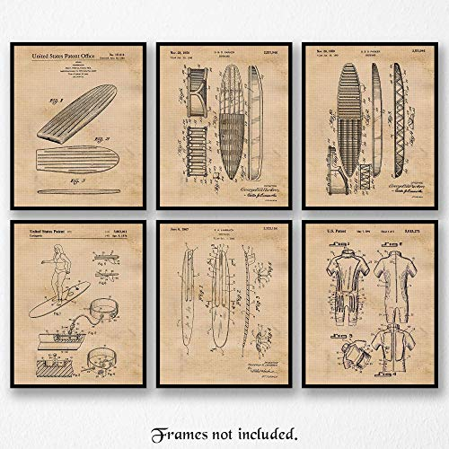Vintage Surfboard Patent Poster Prints, Set of 6 (8x10) Unframed Photos, Wall Art Decor Gifts Under 20 for Home, Office, Garage, Beach Cabin, Man Cave, College Student, Teacher, Surfing & Hawaii Fan
