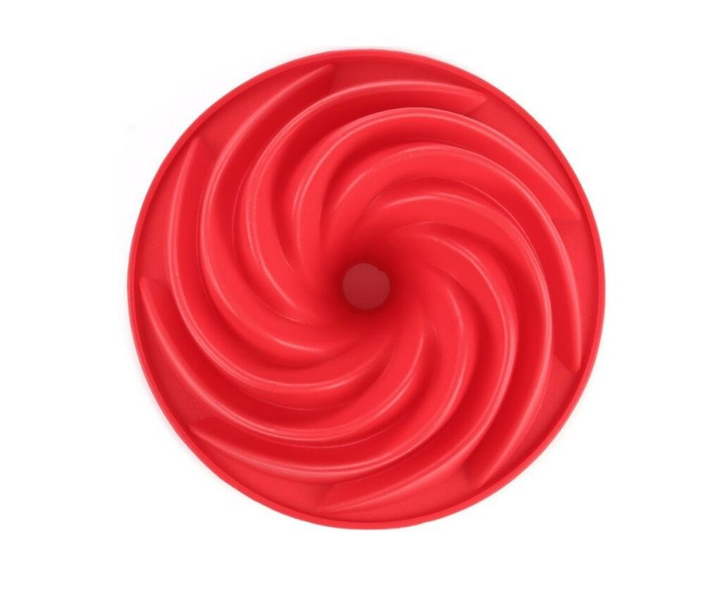 9 Inch Cake Pan Whirlwind Non-Stick Cake Mold Silicone Fluted Deep Ring Mould Genven