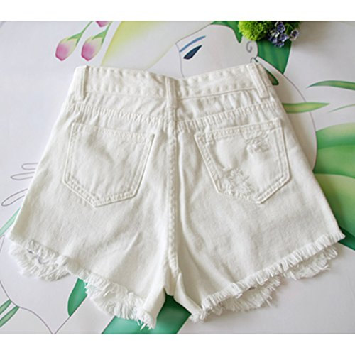 Mode Pantalon Dtruit Jeans Casual Denim Hibote Chaud Dchires D't Trou Mini Jeans Marguerites Femmes Blanc Court 6w0x05YqBz