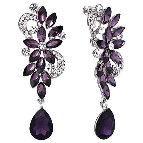BriLove Women's Wedding Bridal Clip-On Dangle Earrings Bohemian Boho Crystal Flower Chandelier Teardrop Bling Long Earrings Amethyst Color ()