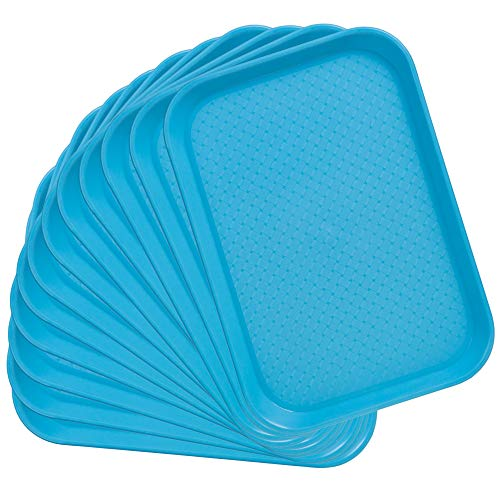 (12-pack Fast Food Cafeteria Tray | Twelve 10 x 14 Rectangular Textured Plastic Food Serving TV Tray Multipack | School Lunch, Diner, Commercial Kitchen Restaurant Equipment (Blue) )