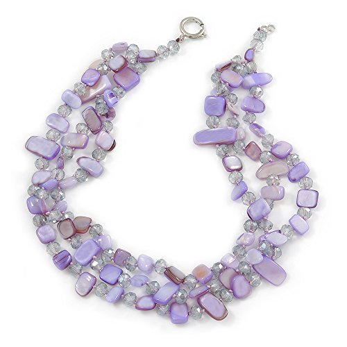 Avalaya 3 Row Pastel Purple Shell and Transparent Glass Bead Necklace - 43cm L ()