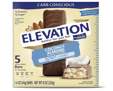 Elevation by Millville Coconut Almond Advance Bars 8oz(1.6oz x 5 bars) , pack of ()
