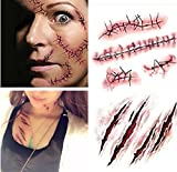 cute devil girl sticker - LB-Halloween Zombie Scars Tattoos With Fake Scab Bloody Makeup Halloween Decoration Wound Scary Blood Injury Sticker