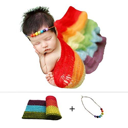 Stretch Baby Wrap (Newborn Baby Stretch Knit Wrap,Photography Photo Props Rainbow Tassel Blanket(Include Headband))