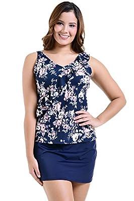 PERONA Plus Size Swimwear Tankini Swimsuit Women Tummy Control Two Piece Bathing Suit Floral Printed Size 8-26