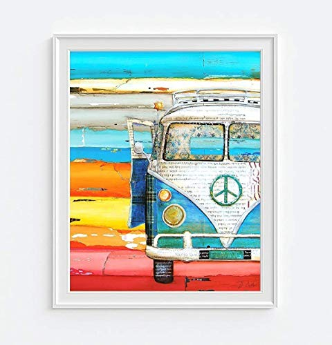 Playing Hooky, Danny Phillips Art Print, Unframed, Vw Volkswagen Van Ocean Beach Inspired Funky Retro Vintage Mixed Media Art Wall and Home Decor Hippie Poster, 8x10 - Beach Art Hawaiian Vintage