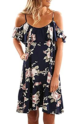 AMiERY Women's Floral Cold Off Open Shoulder Spaghetti Strap Summer Casual Midi Dress